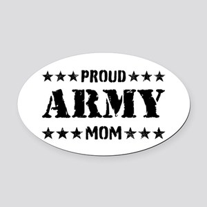 Proud Army Mom [v] Oval Car Magnet